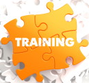 Training on Yellow Puzzle Pieces. Educational Concept.